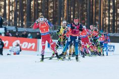 15.03.2015, Kontiolahti, Finland (FIN): Men Mass Start. Johannes Boe, Anton Shipulin.- IBU world championship biathlon, Kontiolahti (FIN),