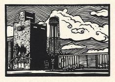 Great texture and detail in this lino block print of Watson, MN, by Bradley Hall
