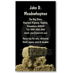 A photo of a stack of small square or rectangular hay bales, with a black background in a vertical format, and a template for more information on the reverse. This agricultural business card template is on a cream colored easily changeable card stock, and is suitable for hay and feed merchants or agricultural contractors.