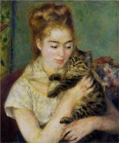 Cat Paintings by Famous Artists   Woman with a Cat by Pierre-Auguste Renoir