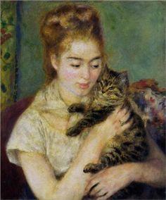 Woman with a Cat - Pierre-Auguste Renoir