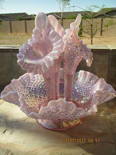 Fenton Pink Diamond lace epergne, elegant!
