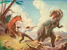 Allosaurus Attacking a Cowboy by Ray Harryhausen, c.1938/1939. Oil on canvas board, 30.5 x 50.5 cm