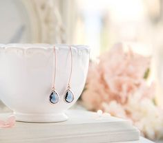 Hey, I found this really awesome Etsy listing at https://www.etsy.com/listing/455908764/rose-gold-navy-blue-earrings-wedding