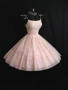 Vintage 50's 50s Baby PINK Pearls Ruched Chiffon by VintageVortex, $349.99