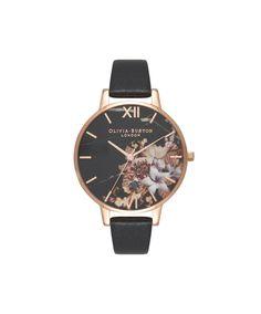 Ladies Marble Floral Black & Rose Gold Watch   Olivia Burton London   Olivia Burton US