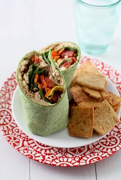 Let's Do Lunch: Greek Veggie Wraps | Annie's Eats. Only change I did was put it on a hot pan for a minute to quickly crisp up the tortilla.