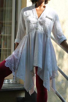 Upcycling Tunika Bluse Hemd  Shirt T-Shirt Shabby
