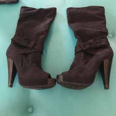 Diba Peep Toe Boot-Size 6.5 Make your outfit pop with this cool pee toe  boot! Designed with open toe, soft fabric upper, hidden wedge heel, bow at ankle, and inside zipper closure for easy on/off. Diba Shoes Heeled Boots