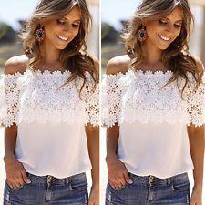 Women Sheer Lace Hollow Crochet Splice Chiffon Shirt Top Off-shoulder Blouse