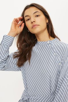 Stripe Button Neck Shirt Dress - Topshop