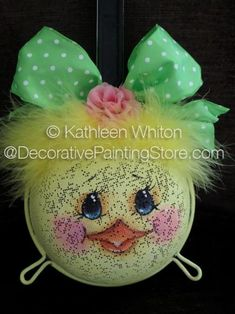 The Decorative Painting Store: Kitchen Strainer Chick Pattern - Kathleen Whiton, Newly Added Painting Patterns / e-Patterns Spoon Ornaments, Painted Ornaments, Christmas Ornaments, Summer Crafts, Holiday Crafts, Diy And Crafts, Easter Projects, Easter Crafts, Easter Dyi