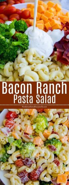 Bacon Ranch Pasta Salad. Easy side dish recipe that is perfect for a bbq or pool party.