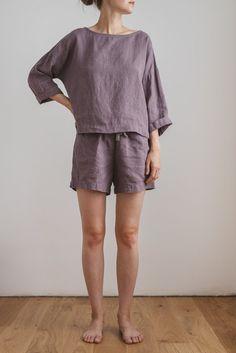 Drop shoulder blouse/ Linen kimono blouse/ Linen pajama set/ Linen sleepwear set/ Linen shorts/ Pajama short set/ CHLOE top and ELLA shorts Womens Fashion Online, Latest Fashion For Women, Pajamas For Teens, Pajamas Women, Kimono Blouse, Linen Blouse, Chloe, Diy Clothes, Clothes For Women