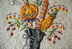 """Whole-cloth quilt made from buttery yellow Dupioni silk, This was placed in a frame. The center heart pattern is from a book called """". Longarm Quilting, Free Motion Quilting, Machine Quilting, Machine Embroidery, Halloween Quilts, Fall Halloween, Fabric Painting, Fabric Art, Witch Boots"""