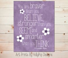 You are Braver than You Believe-Purple Wall Art-Toddler Girls Room-Baby Girl Nursery-Purple Print-Inspirational Wall Decor-Winnie Pooh-#0774...