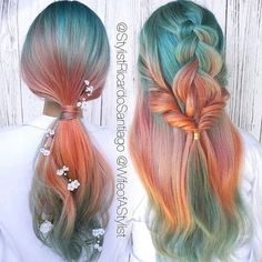 Beautiful sunset inspired makeover with flower details by @stylistricardosantiago and @wifeofastylist! #hair #haircolor #haircolour #hotonbeauty #hotd #colormelt #color #colorful #stylish #hairmakeover #mermaidhair #braid #festivalhair #festival #pastel #pastelhair #flower #hairinspo #beauty #beautiful Featured by: #isaprofessional