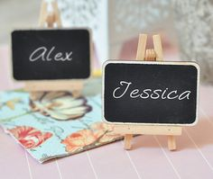Wood Framed Chalkboard Place Cards Mini Easels Wedding Favor Escort Cards Party…