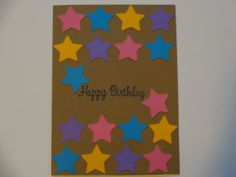 Star Happy Birthday Card  blue purple pink by MegansPaperCreations, $3.25