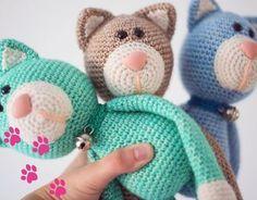 Crochet Cuddly Toys - Meow Little Kitty-Kuscheltiere häkeln – Miau kleine Miezekatze Crochet cuddly toy – kitty wollplatz. Chat Crochet, Crochet Patterns Amigurumi, Baby Knitting Patterns, Amigurumi Doll, Crochet Toys, Free Crochet, Knitting Toys, Kids Crochet, Baby Patterns