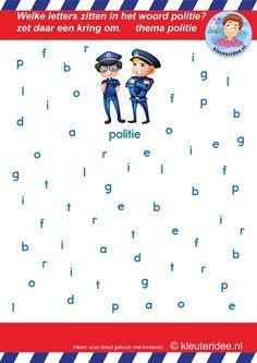 Welke letters zitten er in het woord politie, voor kleuters, letterherkenning, thema politie, kleuteridee.nl, free printable.