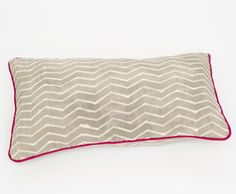 "Zig Zag Gris 14"" x 24"" Pillow $120. ""Grey, zig zag patterned mud cloth pillow created using mud from the Niger River. This amazing cooperative, in central Mali, supports young men in the area by teaching them the techniques of traditional Malian mud cloth dyeing and printing."" via Proud Mary I celadonathome.com"