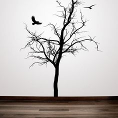 Winter Tree with Birds Decorative - Vinyl Wall Art Decal