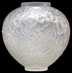 """RENÉ LALIQUE CLEAR AND FROSTED GLASS """"GUI"""" VASE Model introduced 1920. Signed R. LALIQUE FRANCE. Height 6 5/8 inches"""