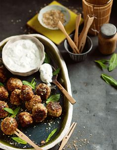 Play the ball game and try our spiced lamb meatballs! Lamb Recipes, Meat Recipes, Cooking Recipes, Lamb Meatballs, Lamb Dishes, Ground Coriander, Canapes, Finger Foods, Spicy
