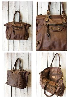 "Handmade Italian Light Brown Leather Messenger Bag ""ZIPPER 11"" di LaSellerieLimited su Etsy"