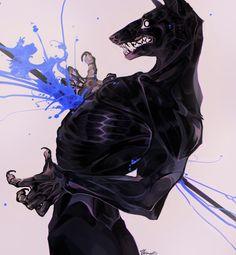 by Remarin on DeviantArt Werewolf Art, Furry Drawing, Wow Art, Horror Art, Creature Design, Fantasy Creatures, Furry Art, Art Inspo, Amazing Art