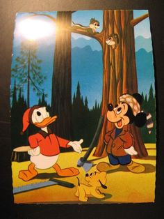 1966...Vintage Old Postcard Walt Disney: Donald Duck and Mickey Mouse...