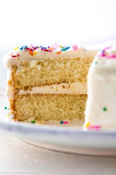 This is our new favorite white layer cake. It's soft, fluffy, moist, tender, and made from scratch!