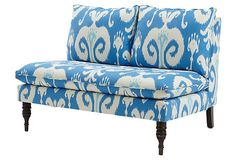 """Bacall 49"""" Armless Settee, Powder Blue 