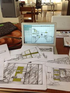 Hand made sketches and drawings of modern Italian furniture for one  project... 2012