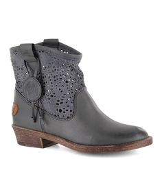Look at this Coolway Black Flavia Leather Ankle Boot on #zulily today!