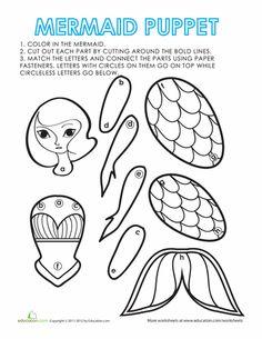 Worksheets: Paper Puppet: Mermaid