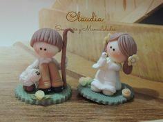 Souvenirs para comunión .- People Figures, Polymer Clay Animals, Clay Baby, Cute Clay, Clay Figures, Pasta Flexible, Cold Porcelain, Clay Creations, Teddy Bear