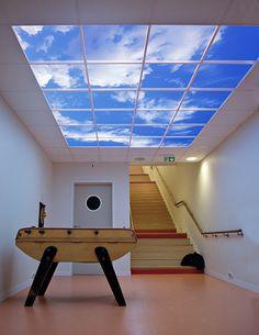Sky Factory Hostel For The Handicapped Ceiling Grid Led Lights