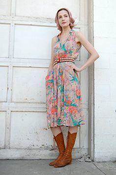 Bohemian Semi Sheer Floral Pastels Vintage Dress with Pockets $50 so pretty! vintage dress floral retro fashion clothing