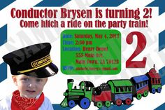 Conductor Train Birthday Package by InvitasticInvites on Etsy, $35.00