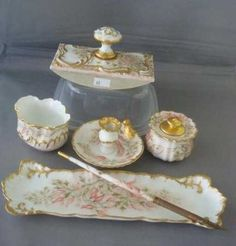 Lot: Antique Limoges Handpainted Porcelain Desk Set:, Lot Number: 0298, Starting Bid: $120, Auctioneer: Phoebus Auction Gallery, Auction: VIRGINIA SEPTEMBER 7th ESTATE AUCTION, Date: September 7th, 2014 EDT