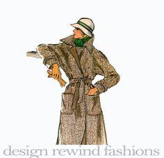 1970s MOD Wrap Coat  Wide Pointed Collar by DesignRewindFashions, $18.00