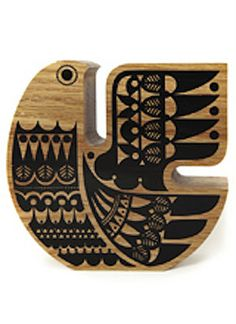"""In Karelia there was an ancient belief in the Sielulintu or Soul bird. It was believed the Sielulintu (Soul Bird) protected a persons soul at its most. Good Luck Symbols, Wooden Bird, Grafik Design, Scandinavian Design, Folk Art, Screen Printing, Illustration, Creations, Carving"