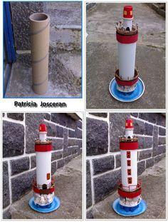 Beautiful lighthouse made of cardboard - * Briko & Déko homemade * Seashell Crafts, Beach Crafts, Summer Crafts, Recycled Crafts, Diy And Crafts, Crafts For Kids, Cardboard Crafts, Paper Crafts, Craft Projects