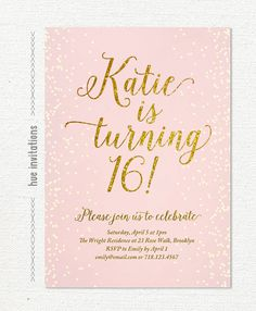 16th birthday invitation pink and gold glitter by hueinvitations