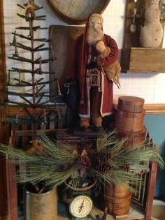 Colonial, Christmas home and Primitives Primitive Christmas Decorating, Primitive Country Christmas, Primitive Santa, Country Christmas Decorations, Prim Christmas, Antique Christmas, Christmas Centerpieces, Winter Christmas, Christmas Crafts
