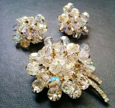 Vintage JULIANA D&E AB Custer Bead Rhinestone Brooch Earring SET B148