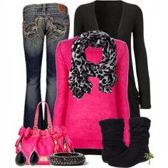 Adorable pink and black outfit for ladies | Fashion and styles