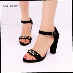 43.30$  Buy here - http://alidd5.worldwells.pw/go.php?t=32648679574 - New 2017 Summer Fashion Women Sandals with chain High Heels Suede Bridal Wedding Shoes Women Pumps Open Toe Ankle Straps Sandals 43.30$